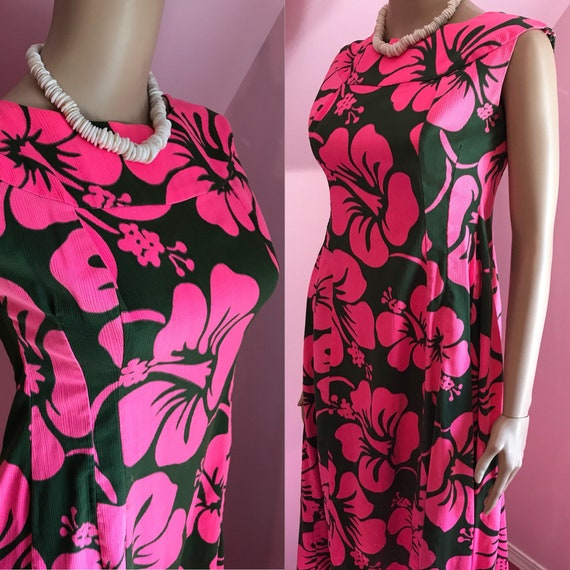 Vintage 60s Hawaiian Dress.1960s Hawaiian Dress.Pi