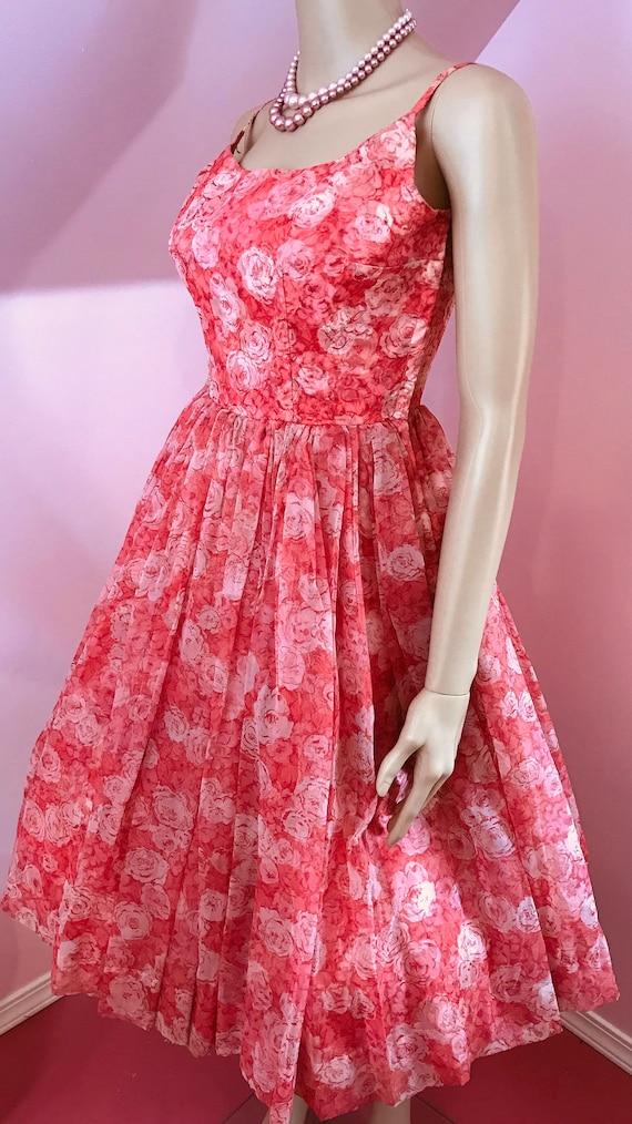 Vintage 50s Chiffon Dress.Pink Chiffon Dress.50s … - image 4