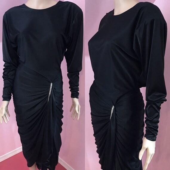 Vintage 80s Black Evening Dress.80s Black Rhinesto