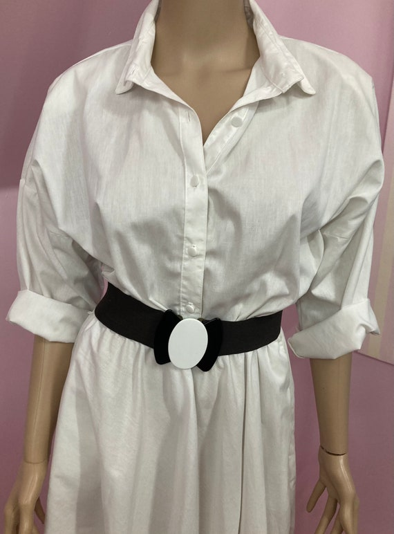 Vintage 70s Shirtdress.White American Shirt Dress… - image 2