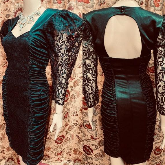 Vintage 80s Sexy Black Dress.Silky Black Dress wit