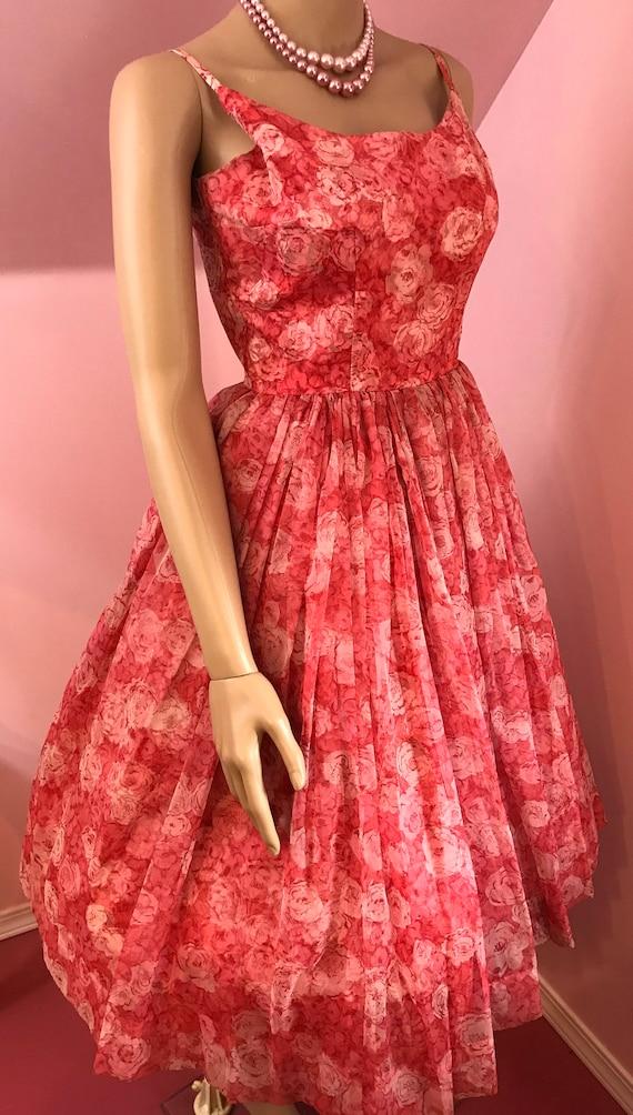 Vintage 50s Chiffon Dress.Pink Chiffon Dress.50s … - image 6