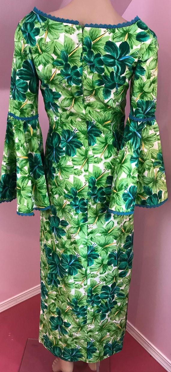 Vintage 50s Hawaiian Wiggle Dress.Green Hawaiian … - image 9