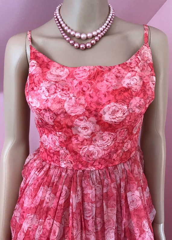 Vintage 50s Chiffon Dress.Pink Chiffon Dress.50s … - image 3