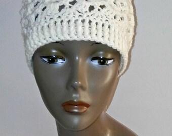 Handmade Women Crochet Beanie, Cream Hat, Winter Hat, Textured Winter Headwear Women Hat