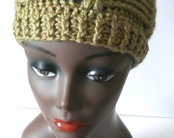Handmade Women Crochet Beanie, Sage Green Hat, Trendy Winter Hat, Textured Winter Headwear