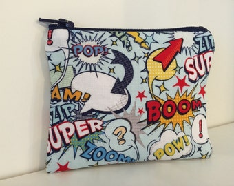 4a53c1fb Comic Book Coin Purse - Cotton Change Purse - Small Zipper Pouch - Wham!  Pow!
