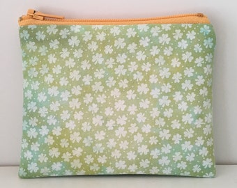 Hand Dyed Shamrocks Coin Purse - Green St Patricks Day Change Purse - Small Cotton Zipper Pouch