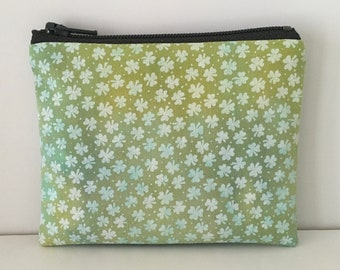 Shamrocks Hand-dyed Coin Purse - Green St Patricks Day Change Purse - Small Cotton Zipper Pouch