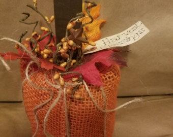 Prim Burlap Pumpkin ~ Primitive Burlap Pumpkin