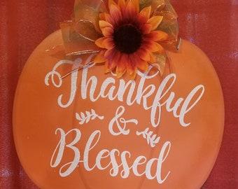 Thankful & Blessed Pumpkin Door Hanger