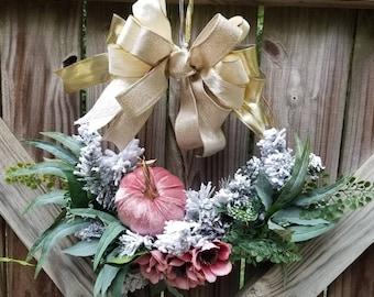 Floral Metal Ring Wreath