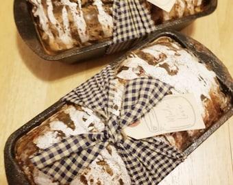 Fake Baked Cinnamon Loaf Bread in Grubby Metal Pan ~ Faux Cinnamon Bread ~ Primitive Loaf Bread