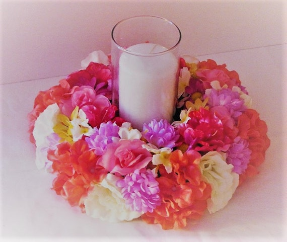Pretty Candle Ring. Wedding Flowers Table centre piece