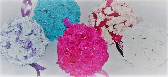 Silk flower kissing ball 6 hydrangea pomander ball etsy image 0 mightylinksfo