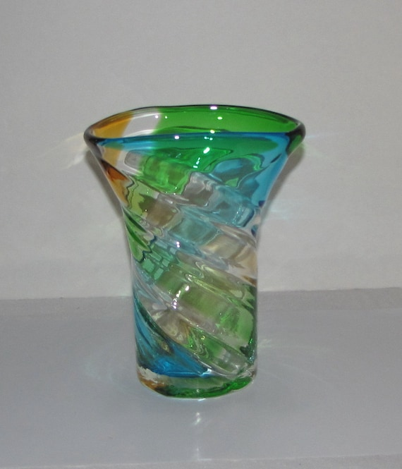 8 H Colored Glass Vase Wedding Table Centerpiece Wedding Etsy