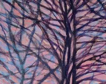 Spring Skies VII -- Late Day Maples - small affordable fine art painting by Irene Stapleford - wantknot shop