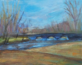 South Bridge, Concord -- Spring View -- fine art painting plein air -- by Irene Stapleford -- wantknot shop