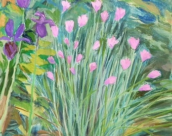 Garden Chives - acrylic floral painting, original art, small painting - by Irene Stapleford - wantknot shop