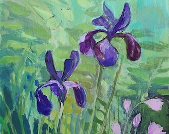Iris Against Soft Greens - acrylic and charcoal floral painting, original art, small painting - by Irene Stapleford - wantknot shop
