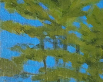 Spring Skies VI: Pines - small affordable fine art painting by Irene Stapleford - wantknot shop