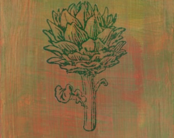 original small affordable art - Artichoke - one of a kind small acrylic painting by Irene Stapleford - wantknot shop