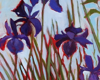 Early Summer Garden -- Iris - acrylic floral painting, original art, small painting - by Irene Stapleford - wantknot shop