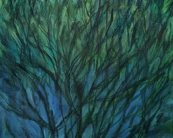 Branches Flow in Blues and Greens -- original small fine art landscape painting plein air -- Irene Stapleford -- wantknot shop