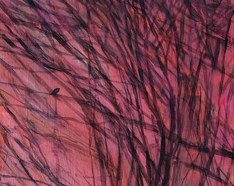 Lone Bird in Sunset Branches - original fine art, wall decor, acrylic painting on panel - Irene Stapleford - wantknot shop