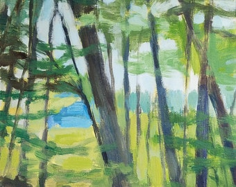 Afternoon Trees, Early Summer - acrylic landscape painting, original art, small painting - by Irene Stapleford - wantknot shop