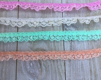 Ruffled Lace Trim 5/8 inch-Pink, mint, peach, ivory--5 yards
