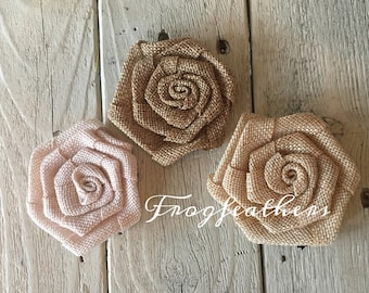 Burlap Rosettes 3 inch-Choice of three Colors-Set of 3
