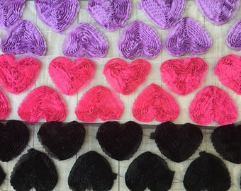 Shabby Hearts  Applique-YOUR CHOICE OF 6 -3 inches
