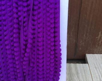NEW BABY BALL Fringe Purple-10mm 1/4 inch- 3  yards