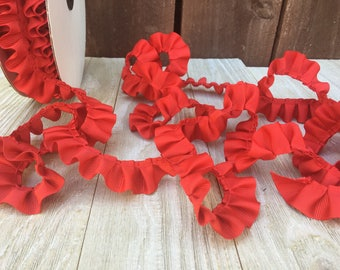 Box Pleated Grosgrain Ribbon RED-2 yards-7/8 inches wide