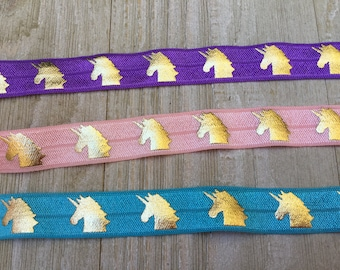 NEW-Elastic-UNICORNS- pink, purple, or turquoise-5/8 inches  5 yards and 10 yards
