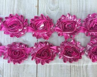 "NEW-PINK & SILVER metallic shabby rose Trim-2.5"" 1 yard piece"