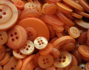 Dark Orange Buttons - Orange and Rust Bulk Round Sewing Button - 100 Buttons - Burnt Orange