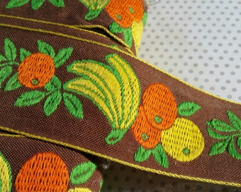 "Vintage Fruit Woven Trim - Orange Yellow Green Brown Jacquard - Oranges Bananas Leaves Ribbon - 2"" Wide - 9 1/2 Yards - DESTASH SALE"