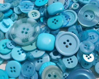 Aqua Buttons - Sewing Button Teal Blue - 100 Assorted Buttons - Limpet Shell