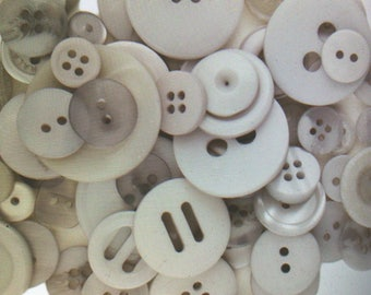 """Gray Buttons - Assorted Light Grey Bulk Sewing Button - From 3/8"""" to over 1"""" Widths - 100 Buttons - Silver Lining"""