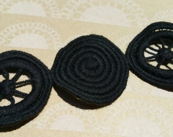 "Black Circle Pattern Trim - Circle Pinwheel Pattern Braid - Vintage Trim - 1 1/2"" Wide - 3 Yards"