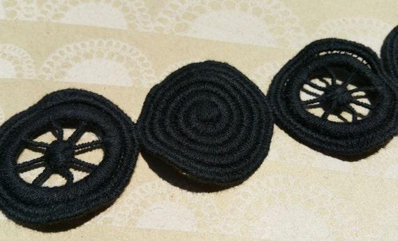 Schwarzer Kreis Muster Trim Kreis Windrad Muster Borte