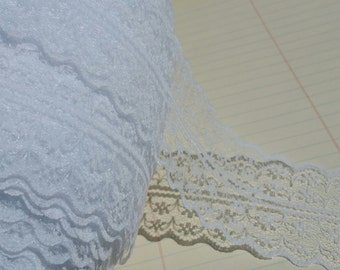 "Wide White Lace - Galloon Bright White Trim - 1 3/4"" Wide - Bridal Wedding Decor - 4 Yards"