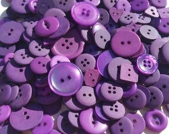 Purple Buttons - Sewing Button - Dark Purple Buttons - 120 Buttons - Grape