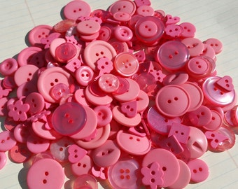 Bright Pink Buttons - Sewing Bulk Assorted Button Coral Pink - 120 Buttons - Coral Punch