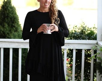 LillyAnnaLadiesApparel Noir KATE Black Shirt Lala Modest