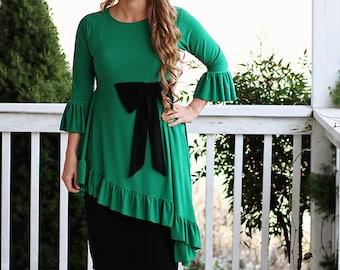 LillyAnnaKids Ladies Mandy Peplum Bow Shirt top LALA