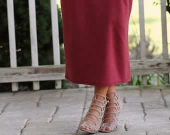 LillyAnnaLadies Knit Long Pencil Skirt Modest