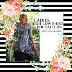 LALA LillyAnnaLadies High Low Ruffle Shirt PDF Sewing Pattern Digital Modest